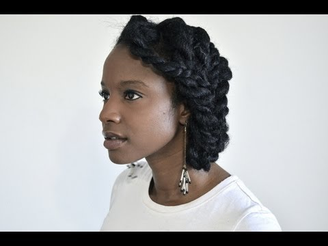 Chunky two-strand flat twist protective style updo for natural hair! | LHDC-TV