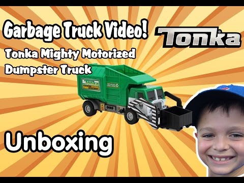 Garbage Truck Videos For Children - UNBOXING Tonka Mighty DUMPSTER TRUCK l Garbage Trucks Rule