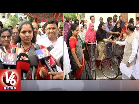 MP Kavitha And Dy CM Mohammad Ali Distributes Free Bicycles To Minority Students | Nizamabad | V6