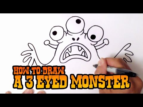 How to Draw a 3 Eyed Monster - Step by Step Video