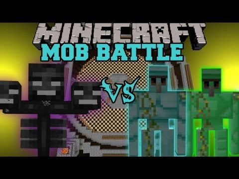 Diamond Golem and Emerald Golem Vs. Wither Boss - Minecraft Mob Battles - Golem World Mod Battle