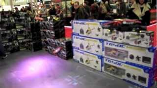 Flying demo AR.Drone 2.0 custom hull and Spektrum control @ The Gadget Show Live 2012