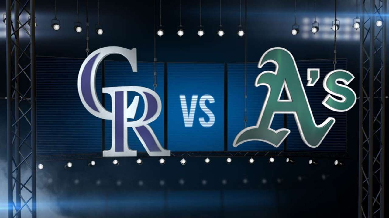 6/30/15: De La Rosa strong as Rockies edge A's, 2-1