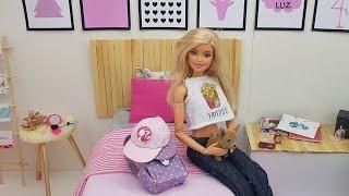 Rotina da Manhã versão Boneca Barbie - Café da manhã, escola e mais!