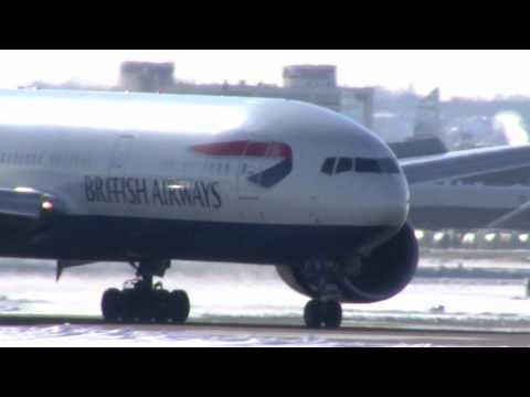 British Airways Boeing 777 Lands Boston Logan