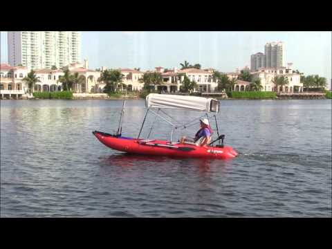 Saturn SK430 KaBoat with Sun Shade & Electric Trolling Motor.
