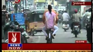 America Couple Cycle Riding in Hyderabad - TV5