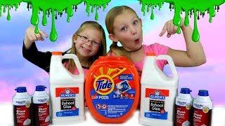 DIY GIANT TIDE POD SLIME!!! Making Fluffy Slime With Tide Pods!!!