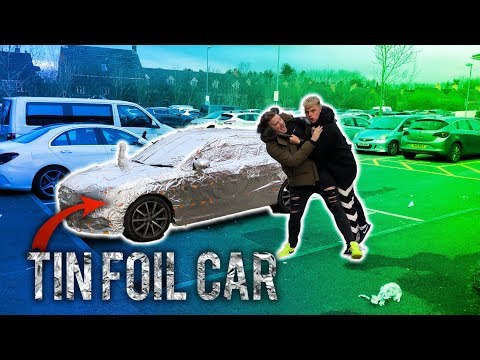 WRAPPED MY BRO'S CAR IN 1000 METERS OF TIN FOIL