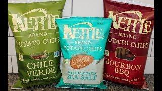 Kettle Brand Potato Chips: Chile Verde, Almond Oil Wood Smoked Sea Salt & Bourbon BBQ Review