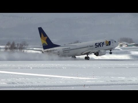 【Full HD】 雪の旭川空港 Skymark Airlines B737-800 Takeoff  Snow Operation's @Asahikawa