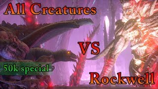 50,000 Subscribers Special: All Creatures in ARK vs Alpha Rockwell + Channel review || Cantex
