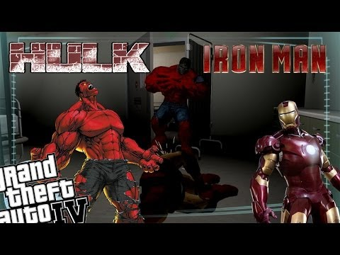GTA 4 Iron Man Mod + Red Hulk Mod - Iron Man vs Red Hulk Epic Battle!!