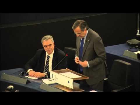 Antonis Samaras (amtierender Ratsvorsitzender) und griechischer Ministerpräsident