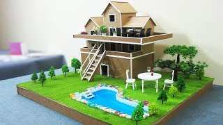 How To Make A Beautiful Mansion House  From Cardboard  -   Dream House  - Project For Kids