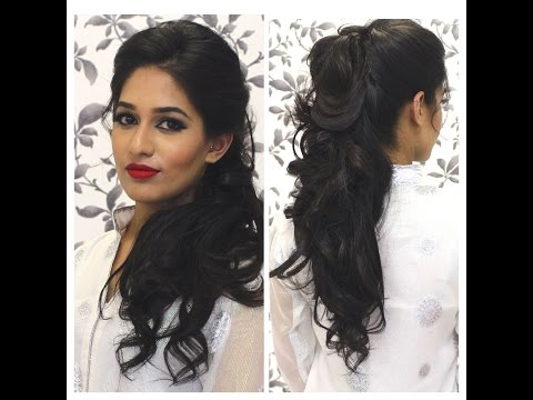 Curly Hair Tutorial | Curly Hairstyles for Medium Hair Using Extensions | Indian Party Hairstyle
