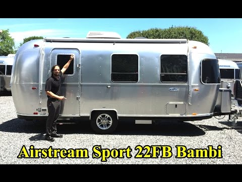 Walk Through 2017 Airstream Sport 22FB Bambi Light Weight Tiny Small Camping Travel Trailer