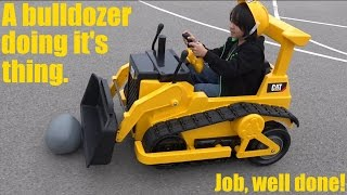Toy Trucks for Kids: Battery Operated Caterpillar Bulldozer Ride-On at Work