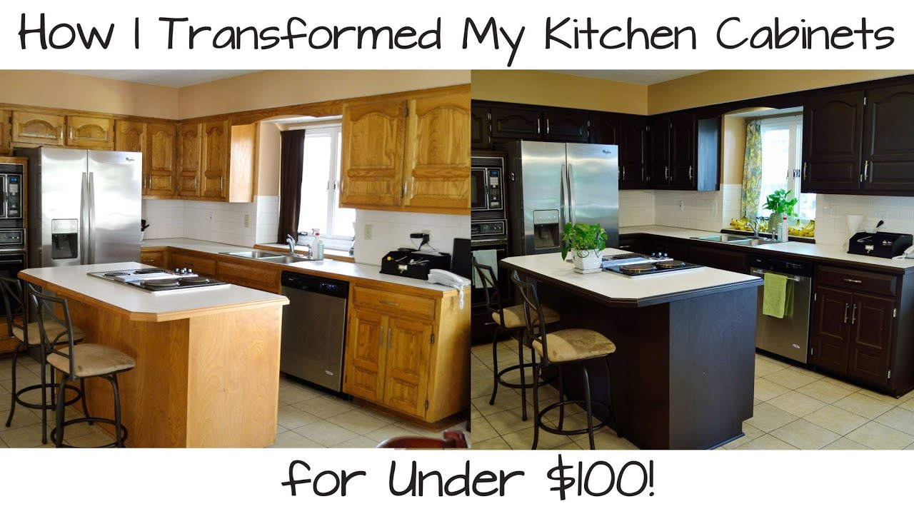 How i transformed my kitchen cabinets for under 100 for Making old kitchen cabinets look modern