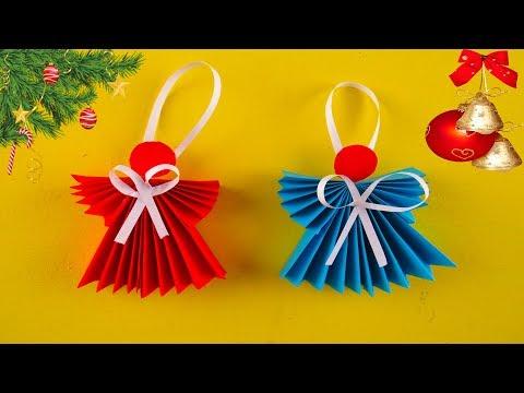 Как Сделать АНГЕЛА ИЗ БУМАГИ. Рождественский Ангелочек Своими Руками. Оригами из бумаги
