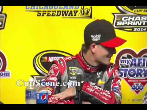 NASCAR at Chicagoland Speedway, Sept 2014: Kyle Larson, Jeff Gordon post race