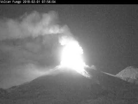 2018-02-01 night time-lapse video of Fuego volcano, Guatemala