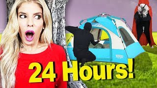 24 Hours inside the Woods Overnight Challenge! (Hide and Seek from Hacker) | Rebecca Zamolo