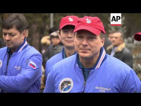 Russian, Italian and US astronauts leave for the Baikonur space centre for space mission