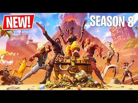 Fortnite Season 8 Battle Pass, New Map & New Skins! (Fortnite Battle Royale Gameplay)