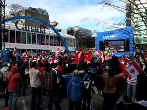 Crowd erupts at LiveCity Downtown as Canada wins Men's Hockey Gold Medal at the 2010 Vancouver Olympic Winter Games on Sidney Crosby's Game Winning Goal in o...