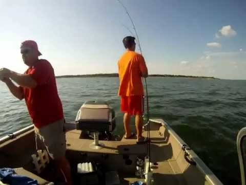 Slabbing, Fishing and Catching Hybrids August 24, 2012 on Lake Lewisville, Dallas, Texas