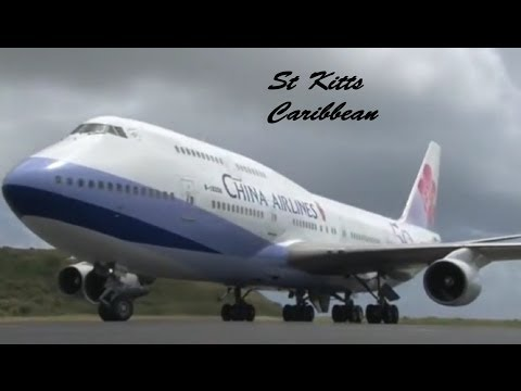 China Airlines 747-400 Extended Edition !!!, Taiwan President arrival @ St Kitts (HD 1080p)