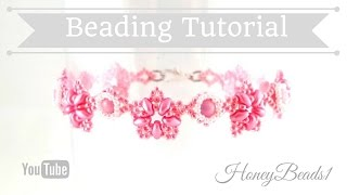 Fatamorgana Bracelet Beading Tutorial by HoneyBeads1 (with superduo and rounduo beads)