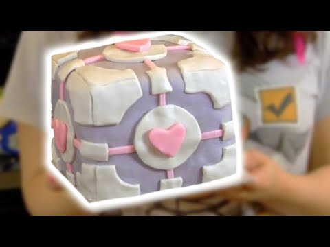 COMPANION CUBE CAKE - NERDY NUMMIES