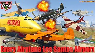 GTA V: New Updated Every Airplanes Los Santos Airport Crash and Fail Compilation