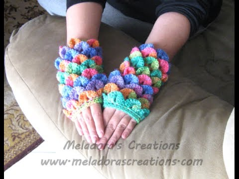 Crochet Tutorial Youtube : Crocodile Finger less Gloves - Crochet Tutorial - YouTube