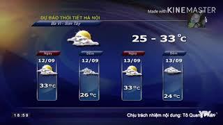 Dự báo thời tiết hôm nay và ngày mai 12/9/2018