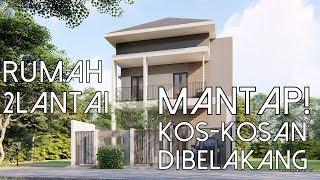 Desain Rumah Lahan 9x15m Dua lantai dengan Kamar Kos Kosan di Belakang [kode 192]
