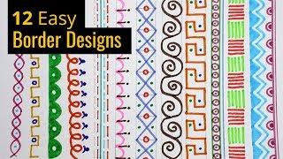 12 Border Designs   Borders Designs On Paper   Project File Decoration Ideas   easy border designs