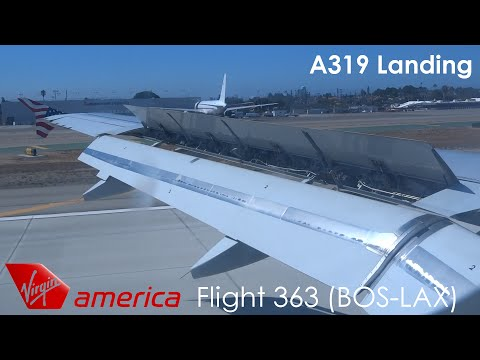 Virgin America A319 Landing and Taxi to the Gate at Los Angeles Int'l Airport