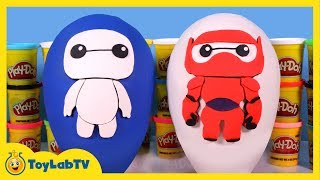 GIANT Baymax Play Doh Surprise Egg Showdown with Big Hero 6, MLP, SpongeBob & Shopkins Surprise Toys