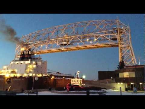Great Lakes Ship, 'James R. Barker' coming into Duluth Entry and Aerial Lift Bridge. .