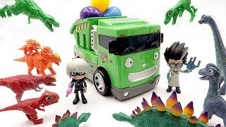 Learn Names Of Dinosaur With 공룡메카드 더블피규어! PJ Masks Toys Battle Dinosaur Toys~
