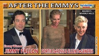 Ellen DeGeneres and Portia DeRossi and Jimmy Fallon after EMMYS S1579