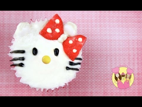 Hello Kitty Cupcake decorating tutorial - easy and cute - no fondant required