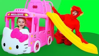 Ulya play with new toy bus