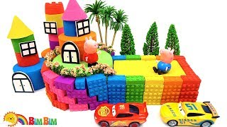 How To Make Rainbow Castle With Big Yard From Kinetic Sand - Kid Videos - For Kids