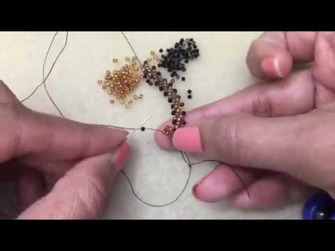 Double St Petersburg Stitch  Demo--Left hand Beading tutorial