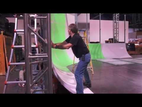Building Pro Cyc System 4QS Freestanding Green Screen Cyc Wall at NAB 2014