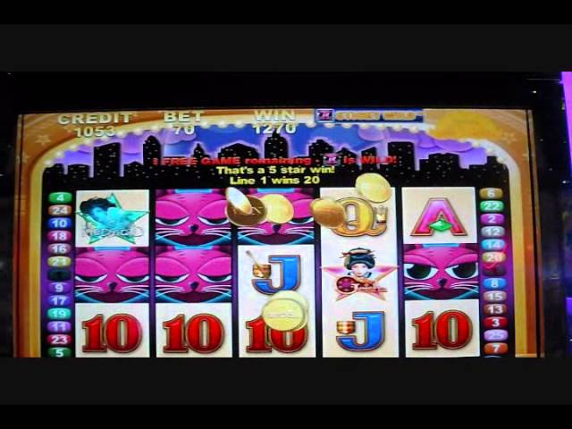 Aristocrat All-Stars Miss Kitty Bonus Round - Almost 100X Slot Win